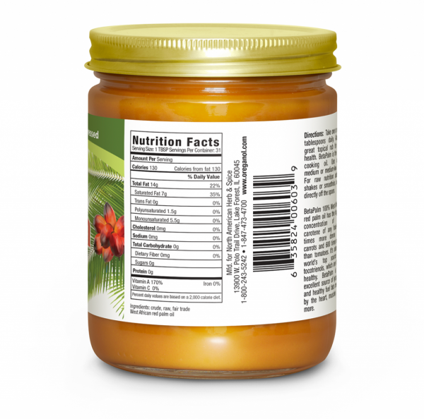 BetaPalm Oil 15oz Nutrition Facts Label