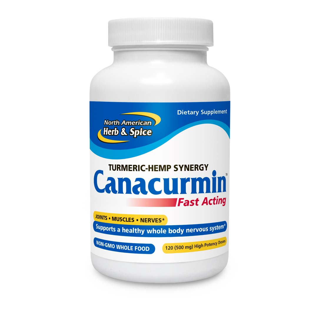 Front of Canacurmin 60 dose bottle