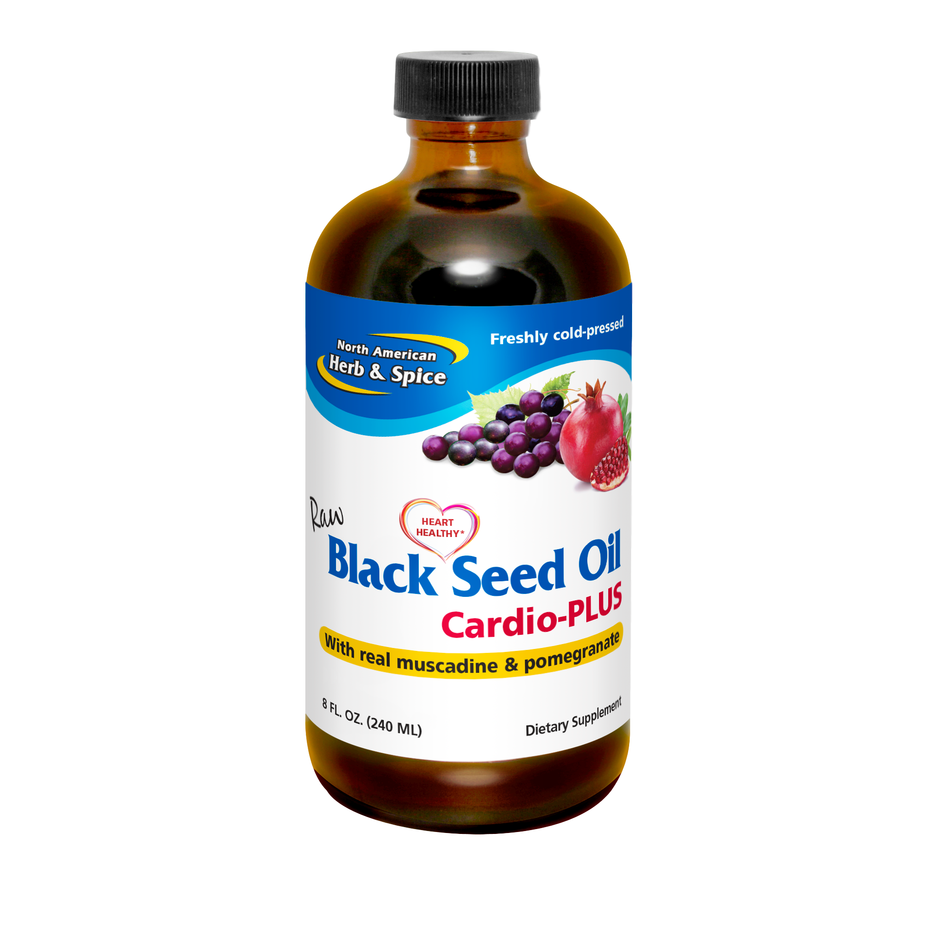 Black Seed Oil cardio plus 8 fl oz front label
